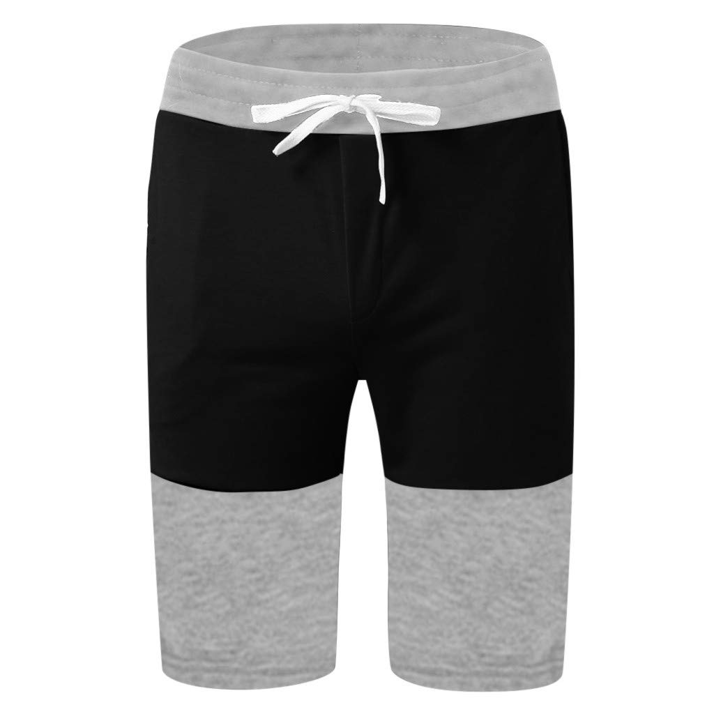 F/_Gotal Men/'s Casual Colorblock Drawstring Elastic Waist Sports Pants Training Jogger Shorts Sweatpants Shorts for Men