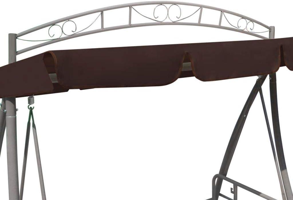 Gecheer Hollywoodschaukel Gartenschaukel mit Sonnendach Kaffeebraun 198 x 120 x 205 cm L x B x H