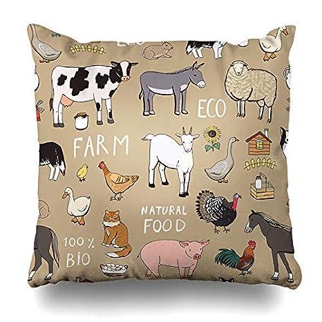 ZGNNN-EU Fundas de cojín con diseño de Animales de Granja de ...