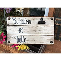 PHOTO HOLDER You Had me at Hello Picture Wall Frame Memo Board Reclaimed Love Sign with Clip Cream Wood Wedding Anniversary Gift for bride groom Home