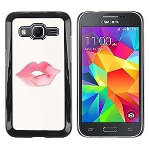 LECELL--Funda protectora / Cubierta / Piel For Samsung Galaxy Core Prime SM-G360 -- Minimalist Kiss Lips Pink --