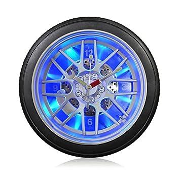 Vinteen Persö nlichkeit Auto Reifen LED Nachtlicht Mute Wanduhr Kreative Wohnzimmer Schlafzimmer Quarz Horologe (mit oder ohne Lichter) Optional Uhren und Uhren ( Grö ß e : 26cm in diameter )