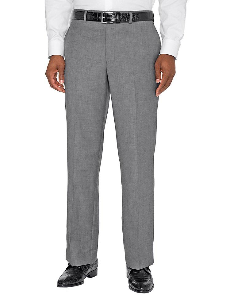Paul Fredrick Men's Super 120s Sharkskin Flat Front Suit Pant Grey 52