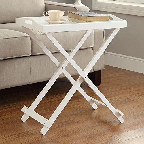 Tv Tray Tables with Removable Serving Tray Portable Table Top Folding Lightweight End Table Snack Table for Living Room Wood Furniture Includes Bonus Ebook Home Decorating on a Budget White