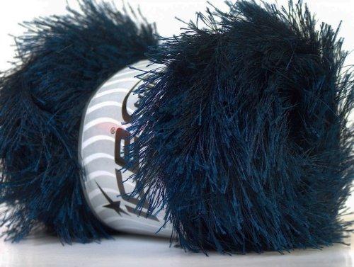 Large 100 gram Skein Navy Blue Eyelash Yarn Fun Fur 164 Yards (Blue Eyelash Yarn)