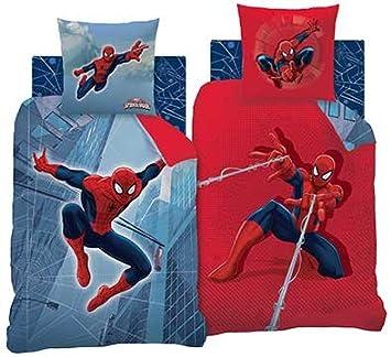 Spiderman Parure de lit, Coton, Bleu/Rouge, 140 x 200 cm: Amazon