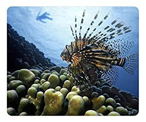 Gaming Mouse Pad - Fashion Hot Oblong Shaped Mouse Mat Design Lionfish Pacific Ocean Natural Eco Rubber / Durable Office Computer Desk Stationery Accessories Mouse Pads For Gift / Laptop Mouse pad and Pc Desktop mouse pad / Support Wired Wireless or Bluetooth Mouse by Maris's Diary