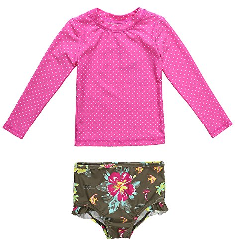 ATTRACO Two Piece Rashguard Swimsuit Baby Floral Swimwear Rose 18-24 Months (Baby Girls Rash Guard Top)