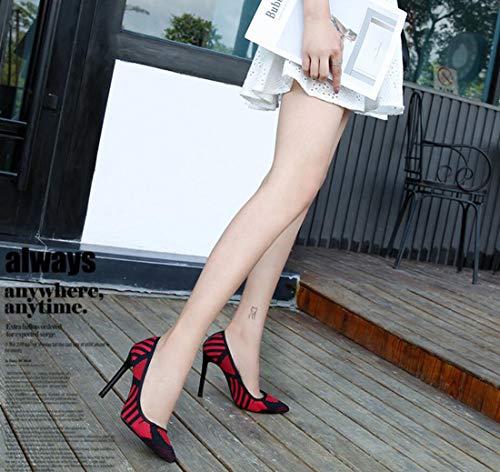 Rojo Zapatos de Moda ZXMXY Aguja de de tamaño Azul Sandalias de tacón Gran de Mujer tacón Sexy para Aire Libre Rojo al Alto aOPdqxOw
