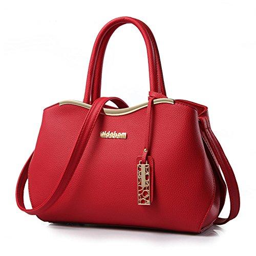 fanhappygo Fashion Retro Leder Damen Schulterbeutel Umhängetaschen Tote Taschen Abendtaschen Rot ruBBKYbw
