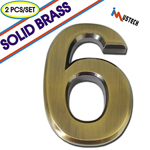 iMustech Mailbox Numbers, 2 Pcs/Set Solid Self-stick Number 6 for Mailbox, Door, Apartment, Hotel, 2-3/4 Inch, 3D Metal Brass Apartment Mailboxes