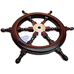 Nautical Handcrafted Wooden Ship Wheel - Home Wall Decor - Nagina International (30 Inches, Black)