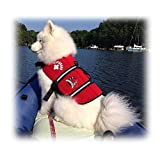 Paws Aboard Red Neoprene Life Jacket, Dog or Cat Life Preserver (X Large over 90 Lbs)