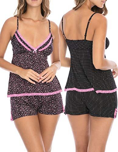 Rene Rofe Sleepwear Women's (4-Piece) Spring Pajama Tank Top Short Set, Black-Pink Floral/Black Dots, Medium