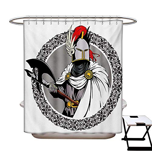 Medieval Shower Curtains Mildew Resistant The Medieval Knight with Traditional Costume and Ancient Mask Heroic Past Theme Bathroom Decor Sets with Hooks W69 x L84 Multicolor ()
