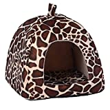 Gowind7 Pet House Dog Cat Bed House Kennel Doggy Puppy Basket Pad(Leopard, XL)