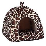 Rrimin Pet Dog Cat Bed House Kennel Doggy Puppy Basket Pad(Leopard M)
