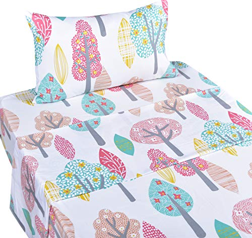 Scientific Sleep Cute Forest Trees Cotton Cozy Twin Bed Sheet Set, Flat Sheet & Fitted Sheet & Pillowcase Natural Bedding Set (14, Twin)