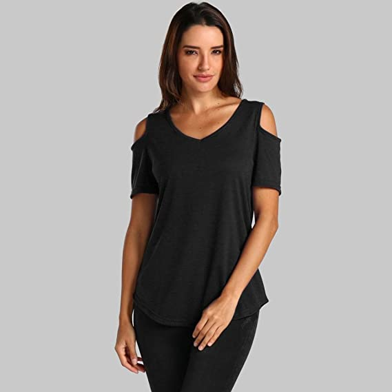 Amazon.com: Teresamoon Clearance Deal Womens Cold Shoulder Sleeve Top Round Neck Shirt: Clothing