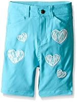 Dream Star Little Girls' Super Stretch Twill Bermuda Short with Lace Heart Appliques, Aqua, 6