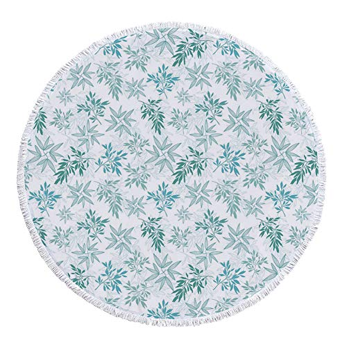 iPrint Thick Round Beach Towel Blanket,Teal,Tropics Abstract Leaves Aloha Hawaii Foliage Vegetation Exotic Trees Decorative,Pale Blue Reseda Green White,Multi-Purpose Beach Throw by iPrint