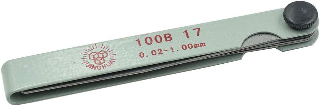 Rannb Metric Feeler Gauge Gap Measurement Tool 17-Leaf 0.02mm to 1mm 100mm//4 Length