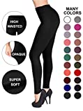 SATINA High Waisted Leggings – 22 Colors – Super Soft Full Length Opaque Slim (One Size, Black)