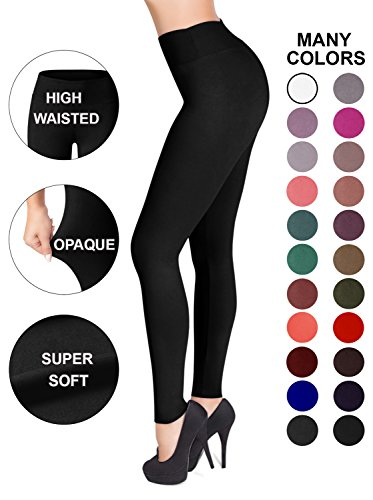 Solid Color Leggings - SATINA High Waisted Leggings – 22 Colors – Super Soft Full Length Opaque Slim (One Size, Black)
