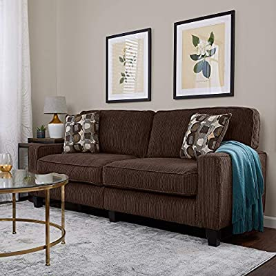 "Serta Palisades Upholstered Sofas for Living Room Modern Design Couch, Straight Arms, Soft Fabric Upholstery, Tool-Free Assembly, 78"", Brown - Quick tool-free assembly and one-box packing for easy set up and assembly in small living spaces Durable, easy-to-clean corduroy textured fabric Modern square arms and plush fabric create a classic look that completes any decor - sofas-couches, living-room-furniture, living-room - 51cTLPsC7NL. SS400  -"