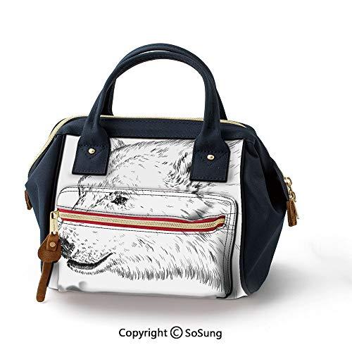 Animal Portable Handbag,Fashion Oxford backpack for Girls & Adult,Charcoal Grey White