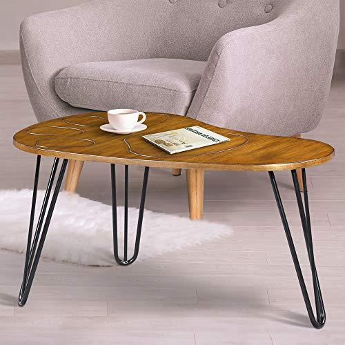 (Olee Sleep VC18TB08S Wood Boomerang Design Coffee Table, Rustic Brown )