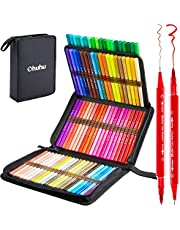 80 kleuren Art Markers Set, Ohuhu Dual Tips Coloring Brush Fineliner Color Marker Pens, Water Based Marker for Calligraphy Drawing Sketching Coloring Bullet Journal