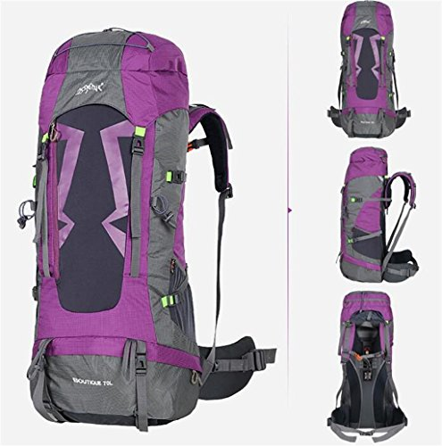 Borsa uomini e donne spalla borsa da viaggio impermeabile grande capacità di alpinismo all'aperto zaino 60 / 70L ( colore : Viola , dimensioni : 60l )