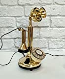 Rotary Dial Candlestick Telephone Decorative Shinny Brass Antique Reproduction