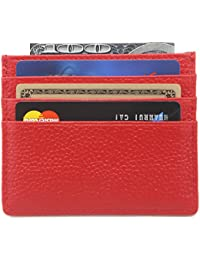 DEEZOMO Genuine Leather RFID Blocking Card Case Wallet Slim Super Thin 6 Card Slots Compact Wallet