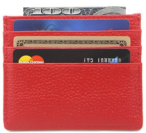 DEEZOMO Genuine Leather RFID Blocking Card Case Wallet Slim Super Thin 6 Card Slots Compact Wallet - Red