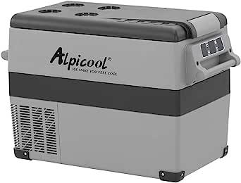Alpicool CF45 45 Litros Nevera Portátil Eléctrica Refrigerador de Coche 12V 24V mini frigorífico CA 220v para Hogar, Camping, Viajes, Automóvil, 20ºC ...
