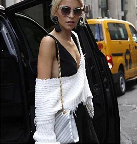 Pull Beige Deep Longues Blanc Noir Hiver Manches Femme Sexuel Ample Carolilly V Blanc Col qYCHAdq7