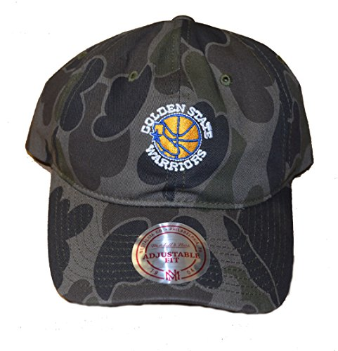 Mitchell & Ness Golden State Warriors Hardwood Classics Camo Strapback Cap - NBA Slouch Relaxed Fit Dad Hat