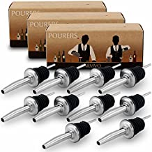 Professional Liquor Pourers Set of 10 by Barvivo - Classic Free Flow Bartender Bottle Pourer w/ Tapered Spout, Fits Alcohol Bottles up to 1l. - Best for Pouring Wine, Spirits, Syrup and Olive Oil.