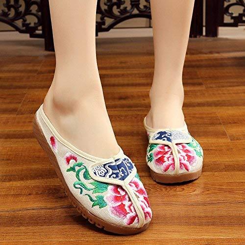 Fuxitoggo Bestickte Schuhe sehnen Sohle ethnischer Stil weiblicher flip Flop Mode bequem Sandalen Meter weiß 38 (Farbe   - Größe   -)