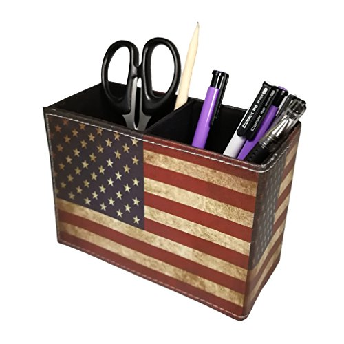 Vintage Pen Pencil Holder Cup - Dreamseden Retro Pattern Desk Organizer for Home Office Bedroom (American Flag Square)