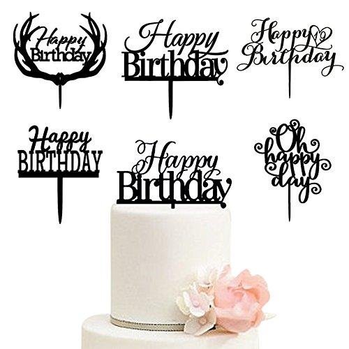 Aspire 6 Pcs Acrylic Birthday Wedding Cake Topper Cake Decorating Supplies Wedding Accessories-Happy Birthday-6 pcs