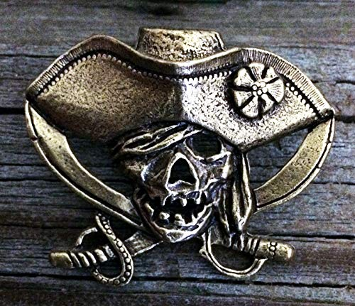Pirate Skull and Crossed Swords Pewter Pin Antiqued Brass Overlay