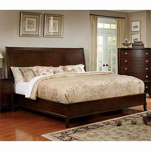 - Furniture of America Monaco Queen Panel Bed in Brown Cherry