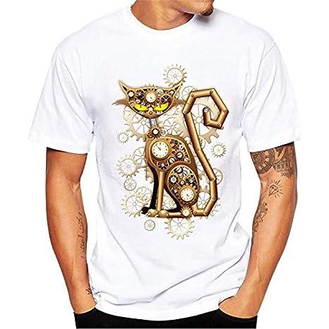 Oliviavan Camiseta De Manga Corta, Camisetas De Hombre De Verano de Básica de Color sólido Manga Corta Modelo de Gato Estampadas Top Casual Camisas