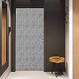 Onefzc Glass Door Sticker Decals Black and White Hi Tech Themed Monochrome Pattern Abstract Design Engineering Science Door Mural Free Sticker W32 x H80 Black White