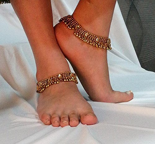 Charms Golden Ethnic Antique Kundan Studded Alloy Anklet by Unknown (Image #2)