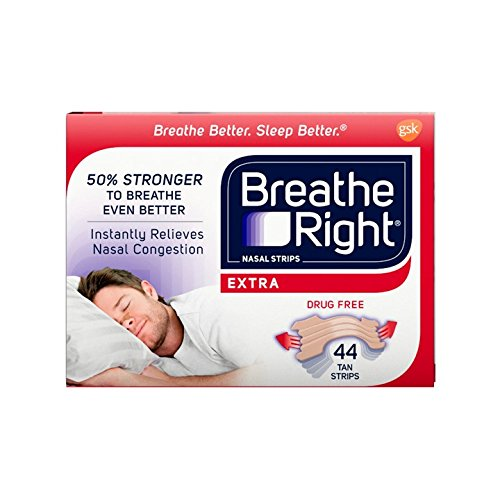 Breathe Right Extra Tan Drug-Free Nasal Strips for Nasal Congestion Relief, 44 count