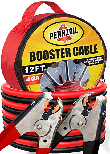 Pennzoil Jumper Cable (4-Gauge x 12-Foot) w/Carry Bag - 500-AMP Heavy Duty Battery Booster